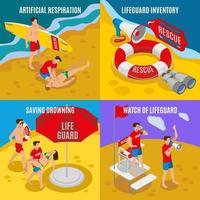 illustration vectorielle de plage sauveteurs 2x2 design concept vecteur