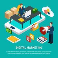 illustration vectorielle de marketing numérique concept isométrique vecteur