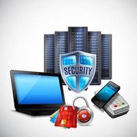 illustration vectorielle de sécurité de paiement composition réaliste vecteur