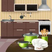 intérieur de cuisine avec illustration vectorielle de batterie de cuisine vecteur