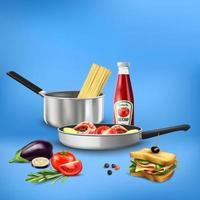 illustration vectorielle de cuisine réaliste outils de composition alimentaire vecteur