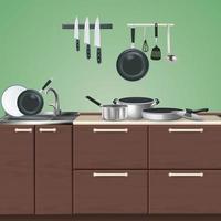 illustration vectorielle de meubles de cuisine ustensiles culinaires illustration vecteur