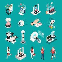 illustration vectorielle de technologie médicale icônes isométriques vecteur
