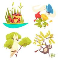 illustration vectorielle de jungle design concept animaux vecteur