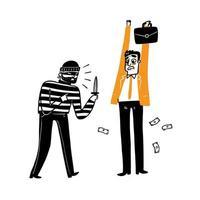 un voleur vole un homme d'affaires vecteur