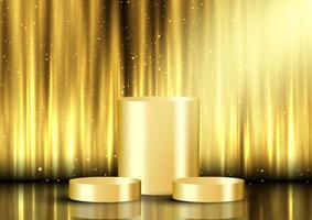 fond d & # 39; affichage doré avec des podiums vecteur
