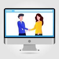 illustration de deux personnes se serrant la main vecteur