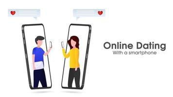 application de rencontre en ligne avec un smartphone vecteur
