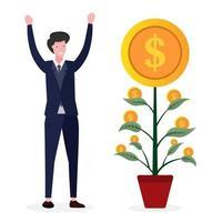 les entrepreneurs sont heureux de voir les retours sur investissement vecteur