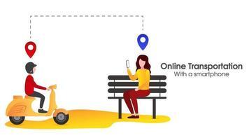 les gens commandent un transport en ligne vecteur