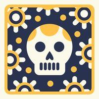 Linogravure squelette en jaune et bleu