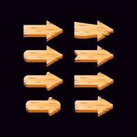 collection de boutons de flèche en bois d'interface utilisateur de jeu vecteur