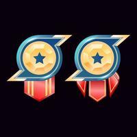 jeu ui médailles d'insigne de rang en diamant doré brillant avec étoile vecteur