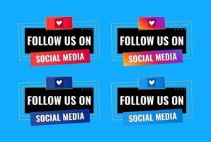 suivez-nous sur la conception de la bannière de célébration des médias sociaux vecteur