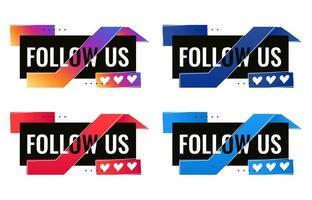 plat suivez-nous modèle de bannière de médias sociaux avec icône triple coeur vecteur