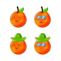 Personnage de dessin animé mignon été orange agrumes avec chapeau et lunettes de soleil dans un style plat dessiné à la main vecteur