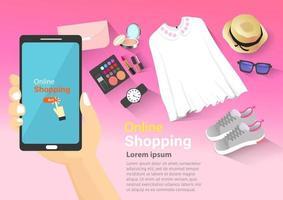 achats en ligne sur mobile vecteur