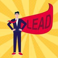 Homme d & # 39; affaires prospère chef d & # 39; affaires en costume et cape rouge avec illustration vectorielle de plomb texte plat style design isolé sur fond de rayons concept de leadership et de réussite dans la croissance de carrière dans les affaires vecteur