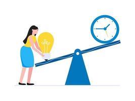 Jeune femme debout avec balançoires temps équilibré et symboles idée ampoule et horloge gestion du temps équilibre business concept plat style design vector illustration isolé sur fond blanc