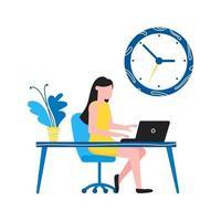 Planification efficace de la gestion du temps business concept homme assis près de l'horloge et se reposer après le travail gens d'affaires caractère plat style clipart pour infographie bannières isolé sur fond blanc vecteur