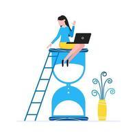 jeune femme assise sur l'horloge de sablier et tenant un ordinateur portable gestion du temps business concept plat style design vector illustration isolé sur fond blanc