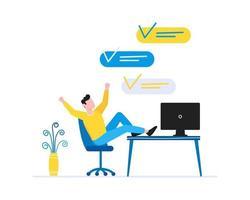Gestion du temps efficace concept d & # 39; entreprise homme assis sur la chaise et au repos des gens d & # 39; affaires caractère plat style clipart pour bannières web isolé sur fond blanc vecteur