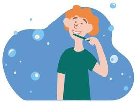 mignon petit garçon se brossant les dents. routine quotidienne du matin, procédure d'hygiène bucco-dentaire ou dentaire. vecteur