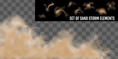ensemble d'éléments réalistes de tempête de sable ou de tempête de sable vecteur
