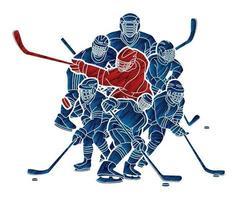 Groupe de silhouette d'action de joueurs de hockey sur glace vecteur