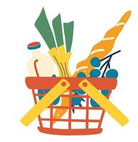 panier en plastique rouge plein de produits d'épicerie. supermarché ou magasin local. panier de nourriture avec des aliments naturels et biologiques. vecteur
