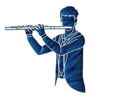 orchestre de musicien de flûte vecteur