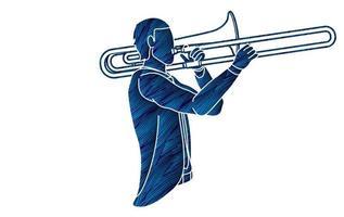 orchestre de musicien trombone vecteur
