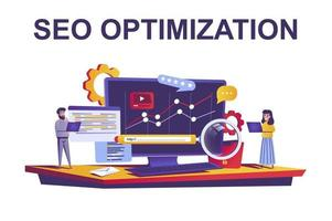 concept de web d'optimisation seo dans un style plat vecteur
