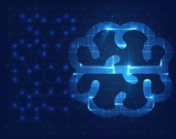 vecteur de lueur abstraite du cerveau numérique. concept de science et technologie. réseau neuronal.