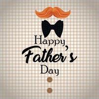 concept de design plat bonne fête des pères avec mostache et cravate vecteur