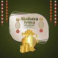 Festival indien akshaya tritiya carte de voeux de célébration avec pot de pièce en or et boucles d'oreilles en or vecteur