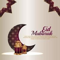 eid mubarak carte de voeux festival islamique avec motif lune et lanterne vecteur