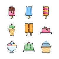 jeu d & # 39; icônes de crème glacée et de gelée vecteur