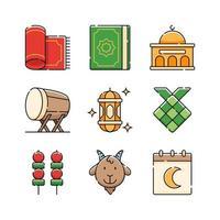 conception de jeu d'icônes eid al adha vecteur