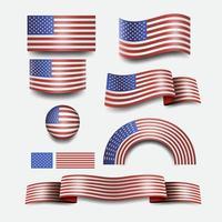 drapeau américain et drapeau de bouton usa design vecteur