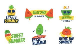 collection d'étiquettes alimentaires d'été colorées vecteur