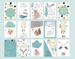 Calendrier animal mignon 2021 avec ours, plume, attrape-rêves pour enfants, enfant, bébé.Peut être utilisé pour un graphique imprimable vecteur