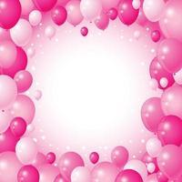 Ballons roses mignons sur fond rose vecteur