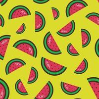 modèle sans couture de tranches de pastèque sur fond jaune. motif de pastèque lumineux motif de fruits colorés. illustration vectorielle. style plat. vecteur illustratio