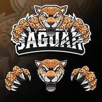 illustration de logo esport isolé jaguar animal sauvage en colère vecteur