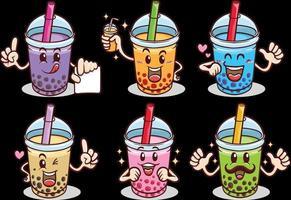 kawaii mignon emoji autocollant personnages dessin animé boba bulle thé au lait vecteur