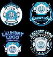 illustration de jeu de caractères mascotte logo blanchisserie vecteur