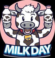 bonne journée mondiale du lait avec une vache tenant une illustration de bouteille de lait vecteur