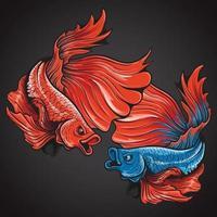 illustration de logo de poisson betta belle action demi-lune vecteur