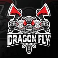 dragon en colère tenant illustration du logo esport axes vecteur